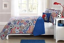 TWIN  SIZE 3 PC CHILDREN'S  BOYS QUILT BEDDING BEDSPREAD SET SPORT BASKETBALL