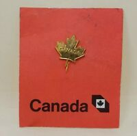 Vintage Gold Tone Canadian Maple Leaf Canada Lapel Stick Pin Back Carded