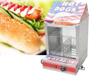 New Commercial Electric Hot Dog Steamer Machine & Bun Warmer Display Showcase