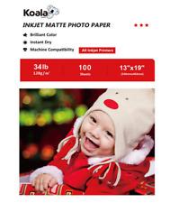 Koala 100 Sheets 11x17 Premium Matte 34lbs Inkjet Printer Photo Paper Canon HP