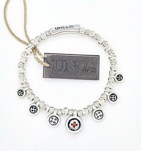 NEW UNO de 50 Silver Tone Beaded Thread of Life Buttons Lady In Red Bracelet