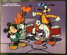 Mickey Donald Pluto Goofy Music mnh souvenir sheet 1997 Antigua #2035 guitars