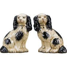 """Reproduction Staffordshire Dogs King Charles Spaniel Pair Figurines Black 9""""H"""