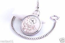 Silver Chain Pocket Quartz Watch with Wildlife Stone Design John Weitz FM022P