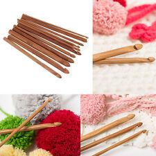12 Size Bamboo Handle Crochet Hook Knit Yarn Craft Knitting Needle Set New##LH