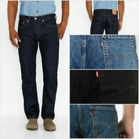 LEVIS 505 REGULAR FIT ZIPPER FLY JEANS LIGHT BLUE STONEWASH RINSE BLACK