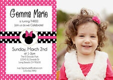 Pink and Black Minnie Mouse Personalized Birthday Invite w/ Photo *You Print*