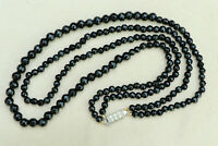 Vintage French Jet Bead Necklace 2-Strand 1950s Black Faceted Glass Graduated