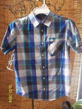 Young Boys Tony Hawk button down shirt Size L Gray,Black,Blue & Aqua cotton blen