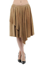 DROME New Woman Brown Suede Leather Asymmetrical Pleated Wrap Sarong Skirt Sz S