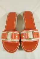 Tory Burch Orange Leather Gold Buckle Wedge Slides Sandals Shoes Womens 7.5 M