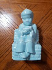 Vintage Planter Blue CHINESE BOY w/ RICE BOWL
