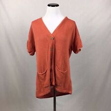 J. JILL Women's short sleeve orange button front cardigan M petite Linen medium