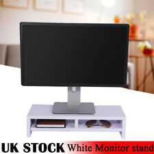 2 tier High Quality White Wooden Laptop Computer Monitor Home Office Riser Stand