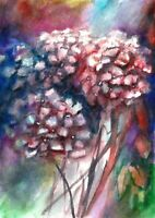 ACEO Bloom hydrangea flowers original painting watercolor art card