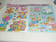 Lot 2 Vintage Easter Clings/Decals Bunnies Train Balloons Blubird Lamb