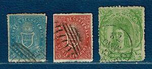 GUATEMALA: N°3: 10c Bleu + N°4: 20c Rose + N°11: 1/2r Vert-jaune oblit.-1871/78-