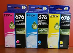 Epson 676XL Pro 3 Pack Cyan, Magenta, Yellow Factory Sealed NOS