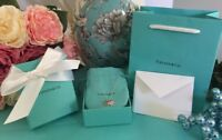 "Tiffany & Co Pink Enamel Double Mini Hearts Necklace Chain 16"" Return To Tiffany"