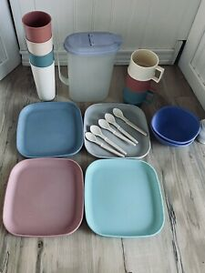 Vintage Tupperware Lot of 15 Plates, Cups, Mugs, Pitcher & Spoons & Bowls