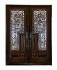 Front Entry Doule Door Solid Wood With Glass Flower External Pre-hung Door
