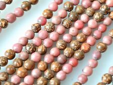 Natural Rhodochrosite and Chrysanthemum Gemstone Beads Nutural Color 4mm #2024