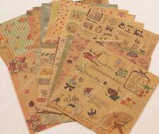 20 sheets assorted vintage floral elegant Kraft paper craft scrapbook 145x145mm