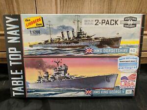 LINDBERG WWII 2-PACK TABLE TOP NAVY HMS DORSETSHIRE & HMS KING GEORGE V 1/1200