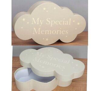 Juliana Bambino Cloud Shape Keepsake Box Baby Shower Newborn Gift Star Grey