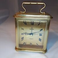 Swiza 8 Brass Carriage Bed Side Table Alarm Clock Mechanical Wind Swiss Made