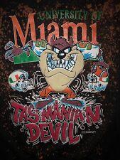 Vintage Miami Hurricanes Sweatshirt Crewneck Mens XL Black 1993 Taz Looney Tunes