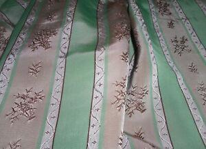 Antique Vintage Floral Basket Stripe Lisere Satin Fabric ~ Jadite Green Taupe