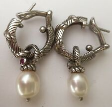 Judith Ripka Sterling Silver Red Stone & Pearl Earring Charms And Hoop Holders