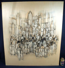 "1970's Signed Oil on Canvas Painting 40"" x 36"" The Gathering Vicente Carneiro"