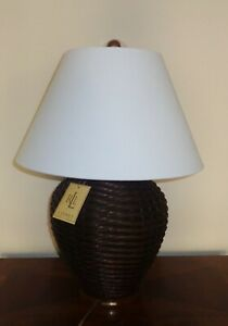 "RALPH LAUREN Rattan Wicker Large Table Lamp Round Weaving Wood Base 24"" Tall NEW"
