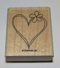 "Heart Flower Rubber Stamp Love Floral Stampin Up Wood Mounted 2"" High"