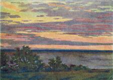 1957 VERY RARE Soviet Russian postcard SUNSET ON THE OKA RIVER by A.Minaev