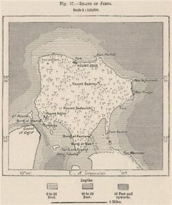 Island of Djerba. Tunisia 1885 old antique vintage map plan chart