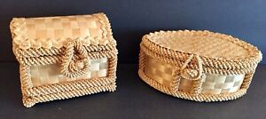 Unique Handmade Straw Baskets with Lids Set of 2 NWOT