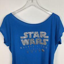Galaxys Edge Landing Star Wars Womens Large Blue Silver T shirt 2019