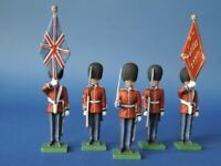 54mm Metal Toy Soldier - Scots Guard Colour Party Standing 5 Piece Set LMS7