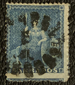G6/86 British Colonies BARBADOS Stamp 1859 16 Miss Perf Error UHR Nice Cancel