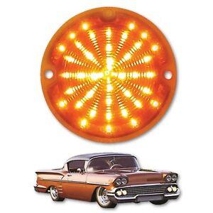 58 1958 Chevy Impala Bel Air Biscayne LED Front Amber Park Light Lamp Lens Each