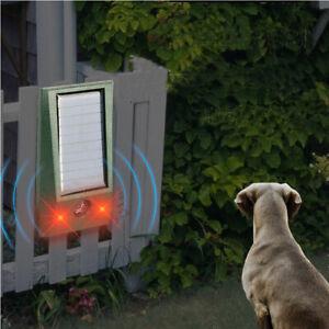 Solar Ultrasonic Garden Deterrent Repeller Animal Bird Cat Scarer Pest Green UK