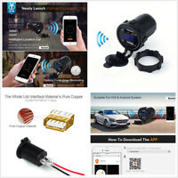 Car Motorcycle Charger GPS Location Dual USB Voltage Display 5V 4.2A Waterproof