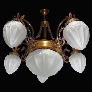 Fabulous Antique French Art Deco Art Nouveau Gilt Brass Frosted Glass Chandelier
