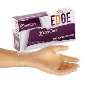 AmerCare Edge Vinyl Powder Free Gloves - 1000 Case - MEDIUM