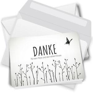 10 Trauer-Danksagungskarten Trauer-karten Umschlag edel Motiv Schmetterling