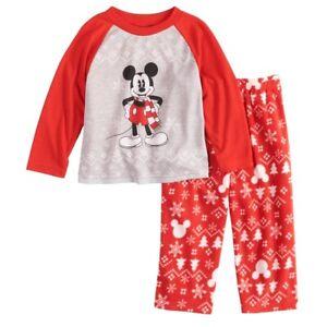 NEW 2pc DISNEY Jammies For Families PJS Mickey Mouse PAJAMAS Christmas Sz 4T NWT