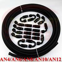 AN4 6AN -6 AN8 10AN AN12 PTFE teflon e85 oil hose end fitting adapter kit 30feet
